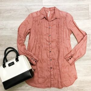 🆕 NWT Free People Breezy Mornings Linen Shirt